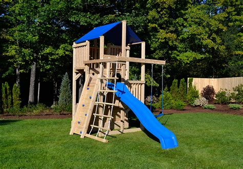 swing sets for small spaces cedar swing sets the space saver climber 8419