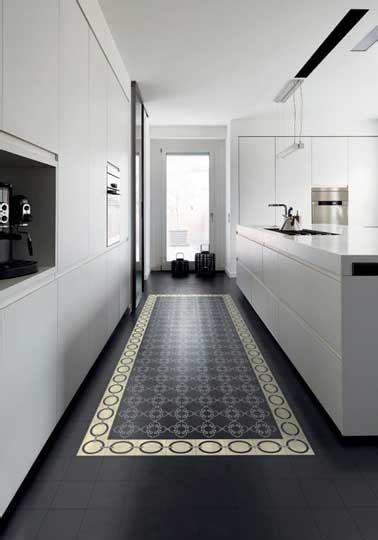 sol cuisine design cuisine design blanche sol carreaux ciment noir