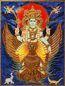 Buy Lord Vishnu on Garuda Handmade Tanjore Painting | Madhurya