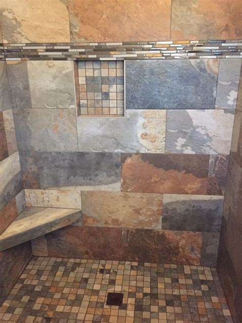 awesome multi color slate tile on shower with free