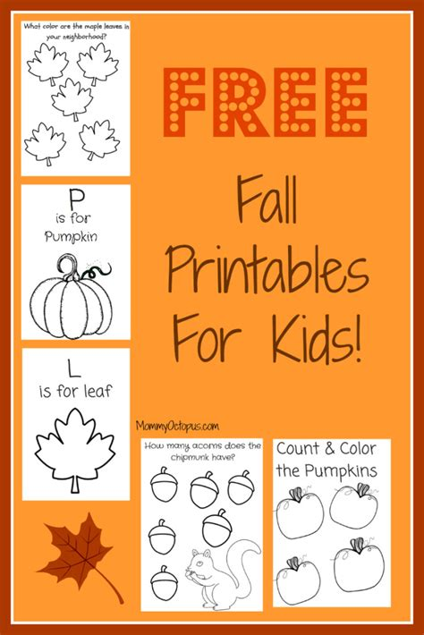 free fall printable activity sheets mommy octopus
