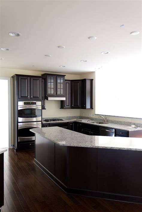 what color floor with dark cabinets luna pearl and espresso cabinets with dark hardwood