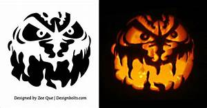 5, Free, Scary, Halloween, Pumpkin, Carving, Stencils, Printable, Patterns, U0026, Ideas, 2017, U2013, Designbolts
