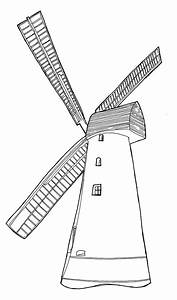 Dutch Windmill Drawing Sketch Coloring Page