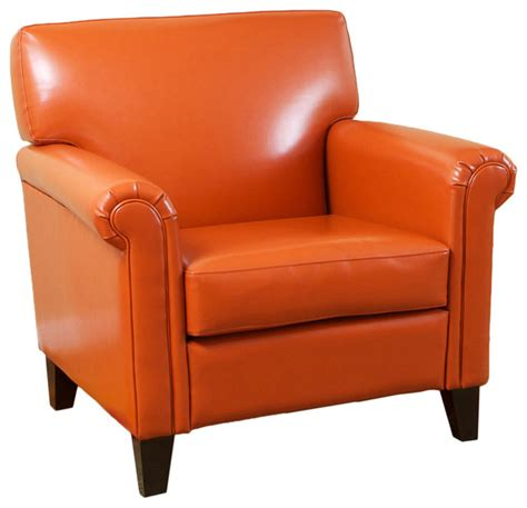 canton orange leather club chair contemporary