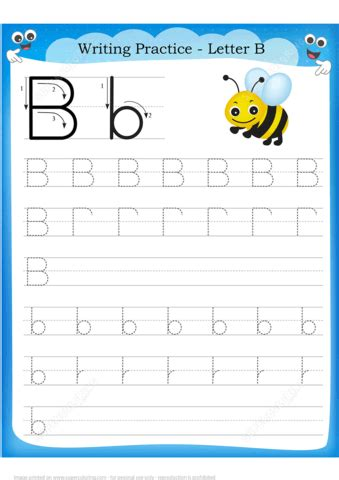 letter    bee handwriting practice worksheet