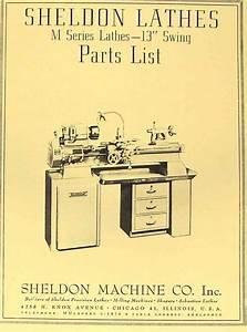 Sheldon 13 U0026quot  M Series Metal Lathe Parts Manual