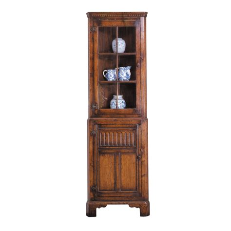 English Oak Corner Cabinet With Glass Doors