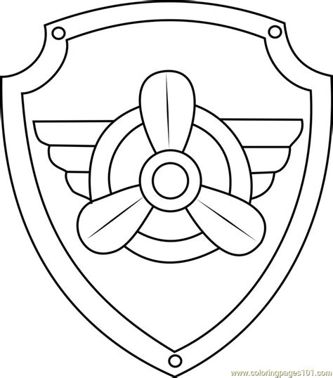 Skye Badge Coloring Page Free PAW Patrol Coloring Pages
