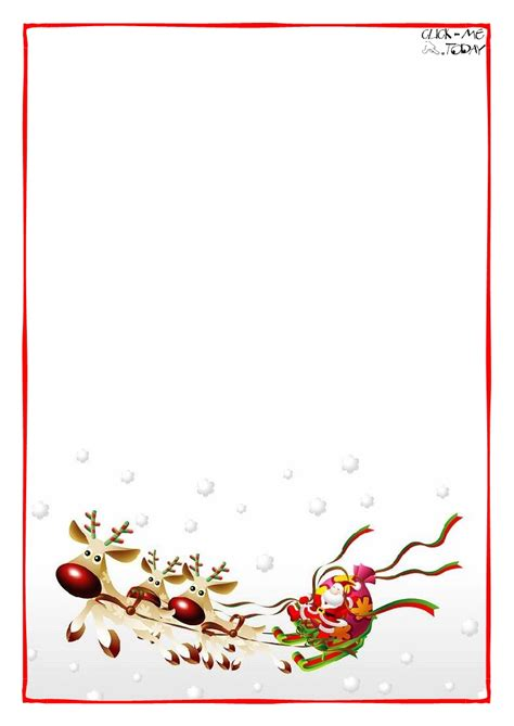 modele lettre pere noel letter to santa claus blank paper template sleigh background 4