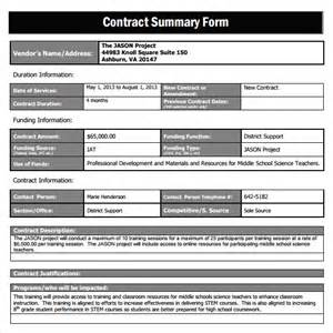 Excel Template Free Sle Contract Summary Template 10 Free Documents In Pdf