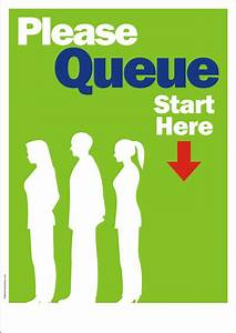 Please Queue Sign Safety Poster Shop