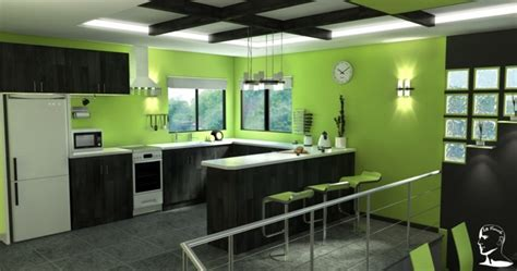 lime green wallpaper for kitchens cuisine verte pour un int 233 rieur naturel et doux 9037