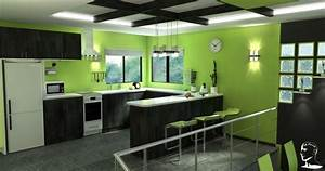 cuisine verte pour un interieur naturel et doux With kitchen colors with white cabinets with cool truck stickers