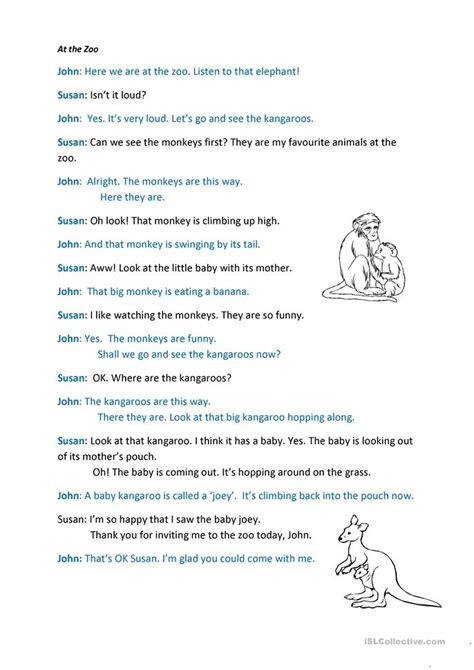 zoo dialogue worksheet  esl printable