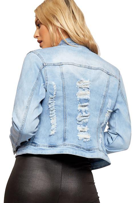 light denim jacket womens womens distressed denim jacket ladies ripped light wash