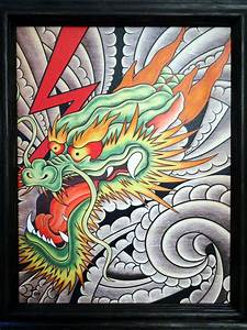 FINE ART GICLEE FRAMED CANVAS PRINT JAPANESE DRAGON TATTOO ...