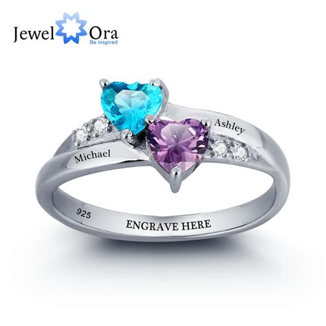 sterling silver engagement rings birthstone engrave
