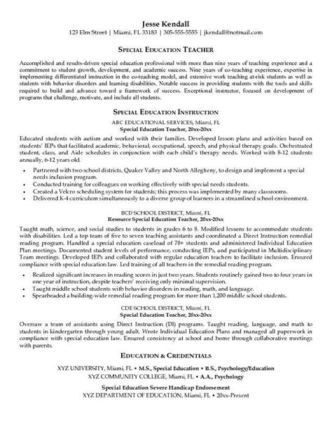 Special Education Resume by Special Education Resume Exles School
