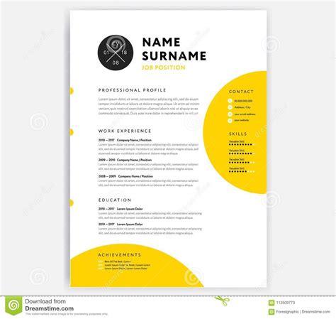 yellow cv resume template curriculum vitae sle vector