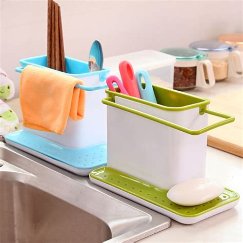 kitchen sink caddy organizer plastic sink tidy cutlery holder caddy kitchen home sink 5673