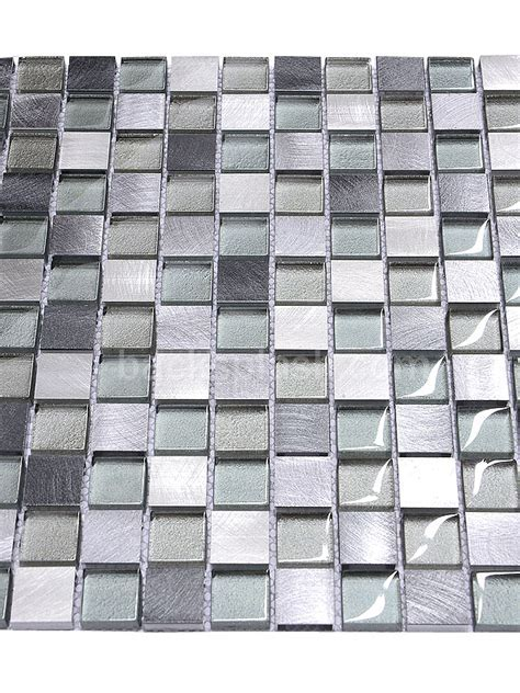Modern Gray Blue Metal Glass Backsplash Tile   Modern
