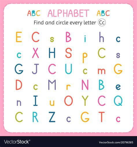 find  circle  letter  worksheet  vector image