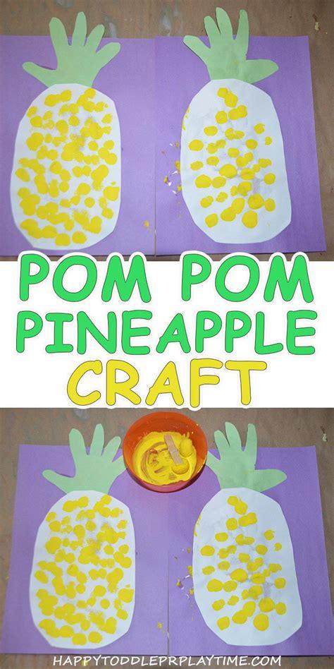 pom pom painted pineapple craft toddler classroom 590 | db8f74d3bd8c108b1f86e3b7e9c2faa3