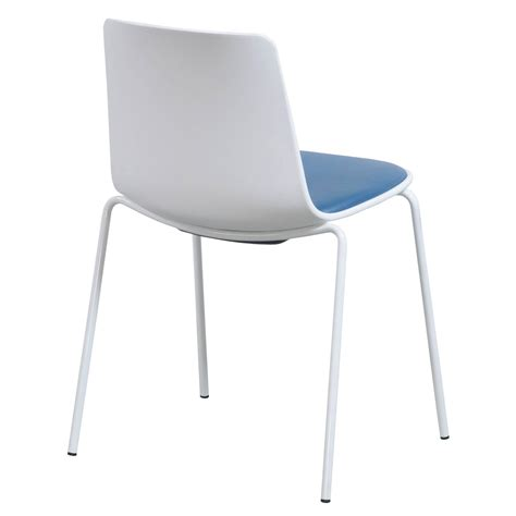 steelcase enea lottus used leather stack chair blue