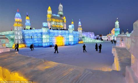 incredible ice sculptures  alive  led lights harbin