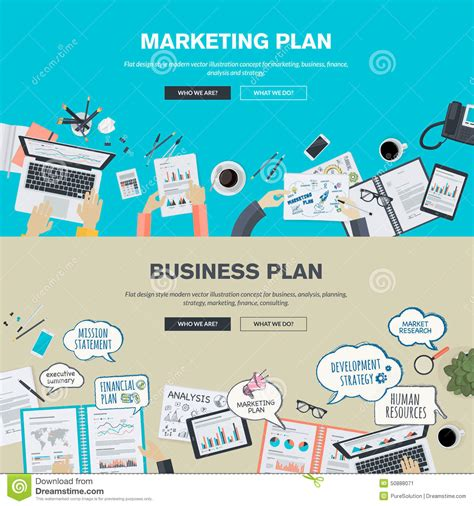 Marketing For Business by Set Of Flat Design Illustration Concepts For Business Plan