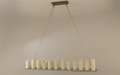 pillar candle rectangle chandelier l large 3d model