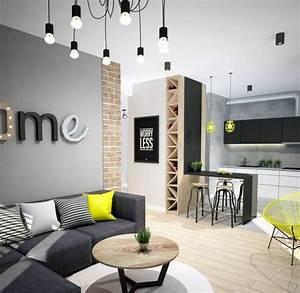Graue Wandfarbe Wohnzimmer : modernes wohnzimmer sofa anthrazit graue wandfarbe gelbe akzente helles holz wandgestaltung in ~ Markanthonyermac.com Haus und Dekorationen