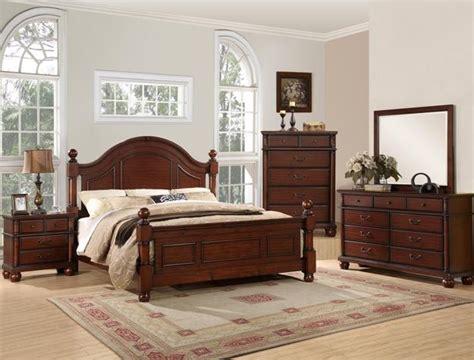 augusta poster bed  piece bedroom suite  walnut finish