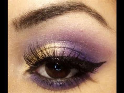 gold pink purple eyes  winged liner makeup tutorial