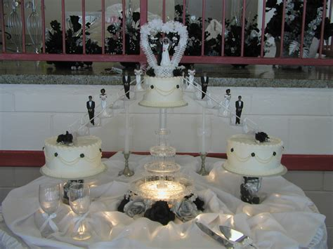 Black, White And Silver Wedding Cake, Stairs, Cake