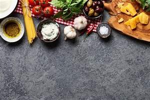 Comida, Italiana, Ingredientes, Sobre, Fondo, De, Piedra, U2014, Foto