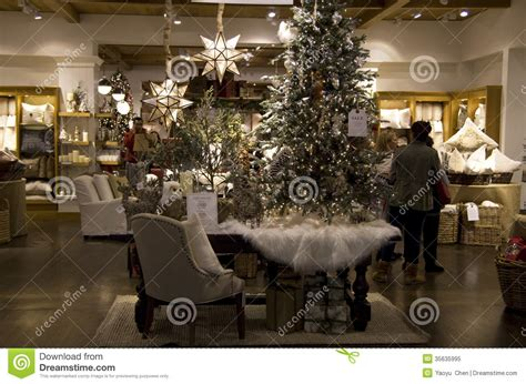 christmas trees home goods decor store editorial image
