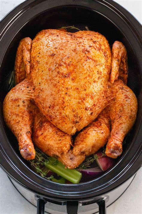 chicken whole slow cooker crockpot cook recipes cooking delites cafe pot crock roasted