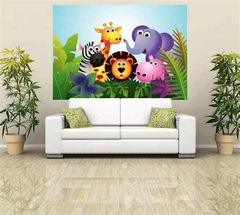 Animal Wall Murals Wallpaper - jungle animal wall stickers walltastic jungle themed