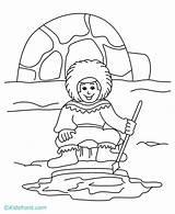 Coloring Igloo Eskimo Clipart Iglu Printable Eskim Cartoon Eskimos Esquimo Template Library Desenho Colorir Clip Sheets sketch template