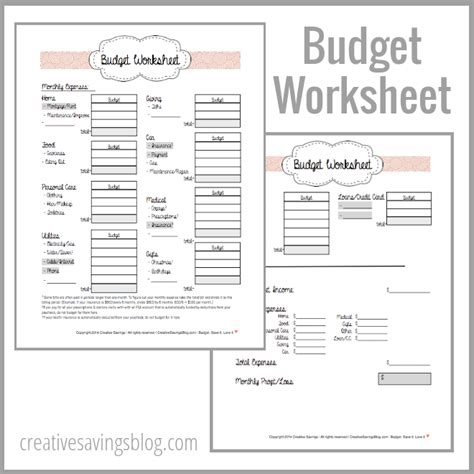 budgeting money worksheets images