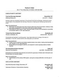 food and beverage manager resume exles 7 food and beverage attendant resume sles resumeviking