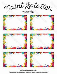 Free printable paint splatter name tags The template can