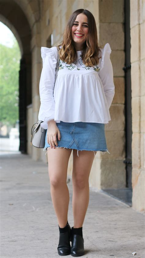 Plain outfit with denim skirt - Fashion Tights