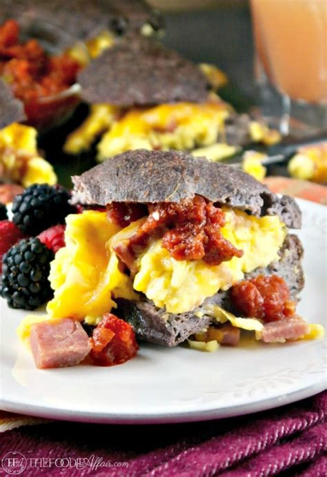 low breakfast low carb breakfast sandwich filled with fluffy eggs