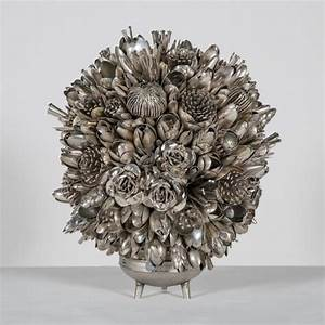 Art collections colossal for Overflowing bouquets built from hundreds of spare utensils