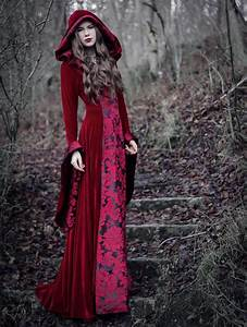 Red Velvet Gothic Hooded Medieval Dress