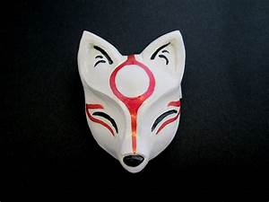 Okami Ameratsu Kitsune Mask Japanese Fox Sculpture Hairclip