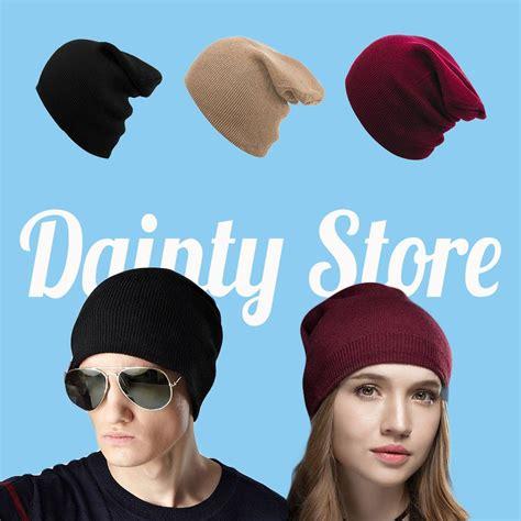 jual topi pria wanita kupluk rajut beanie hat polos di lapak dainty store daintystore